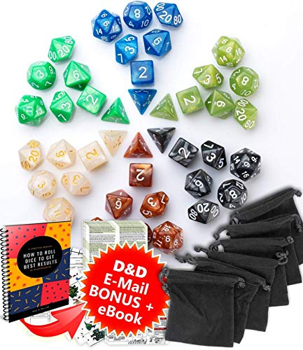 Dungeons and Dragons DnD Dice Set (42pcs) - RPG MTG Dice - D&D 5e Polyhedral Dice - Durable Acrylic D&D Dice with d d Dice Black Bags and Roleplaying DnD - Set Dice Starter