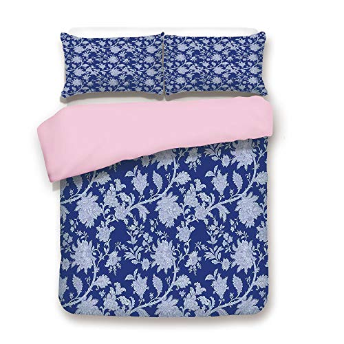 Pink Duvet Cover Set,King Size,Classic Middle Eastern Flowers and Paisley Pattern Ottoman Nostalgic Bloom Design,Decorative 3 Piece Bedding Set with 2 Pillow Sham,Best Gift For Girls Women,Royal Blue -