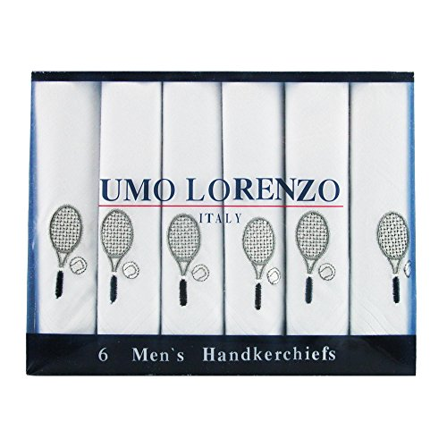 Umo Lorenzo Men's Tennis Racquet Embroidered Cotton Handkerchief Set (Pack of 6) by Umo Lorenzo (Image #2)