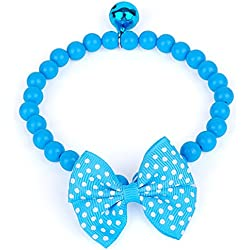 Cuet Pet Bow Necklace Dog Collar Cat Jewelry with Pearls (Blue)