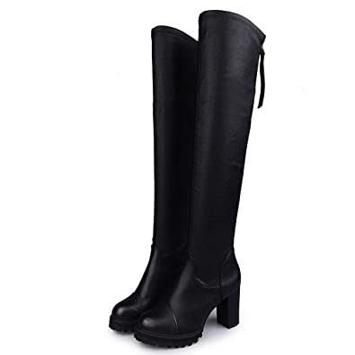 21aa2c818cad9 Knee Thigh High Boots Winter Leather Gothic Chunky Heel Platform Lace Up Women  Ladies Ankle Warm Chukka Deasert Lace Up Zip oe Autumn Shoes  Amazon.co.uk   ...