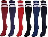 J.Ann 6 Pc / Pk Ladies Color w. 2 White Stripes Knitted Knee-High Socks