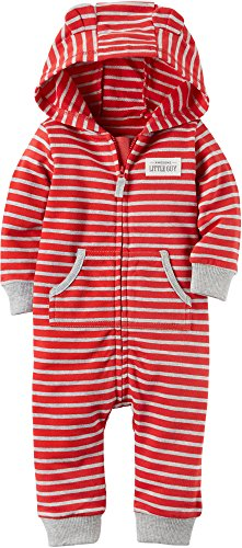 Carter's Striped Zip Up Hooded Coverall With Turn Me Around Detail (Red And Grey, 9 Months) (Striped Fleece Coveralls)
