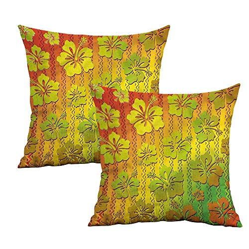 Khaki home Rasta Square Pillowcase Covers with Zipper Jamaican Island Flower Square Kids Pillowcase Cushion Cases Pillowcases for Sofa Bedroom Car W 20