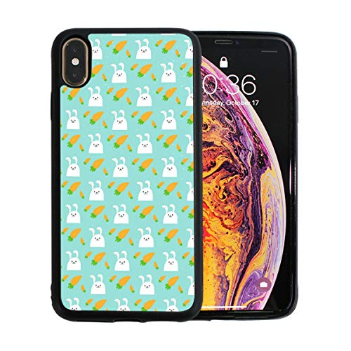 Easter Rabbit Character Bunny Wth Carrots Case for iPhone Xs 6.5-Inch Max Soft TPU Thin Cover Shock-Absorption Bumper Cover ()