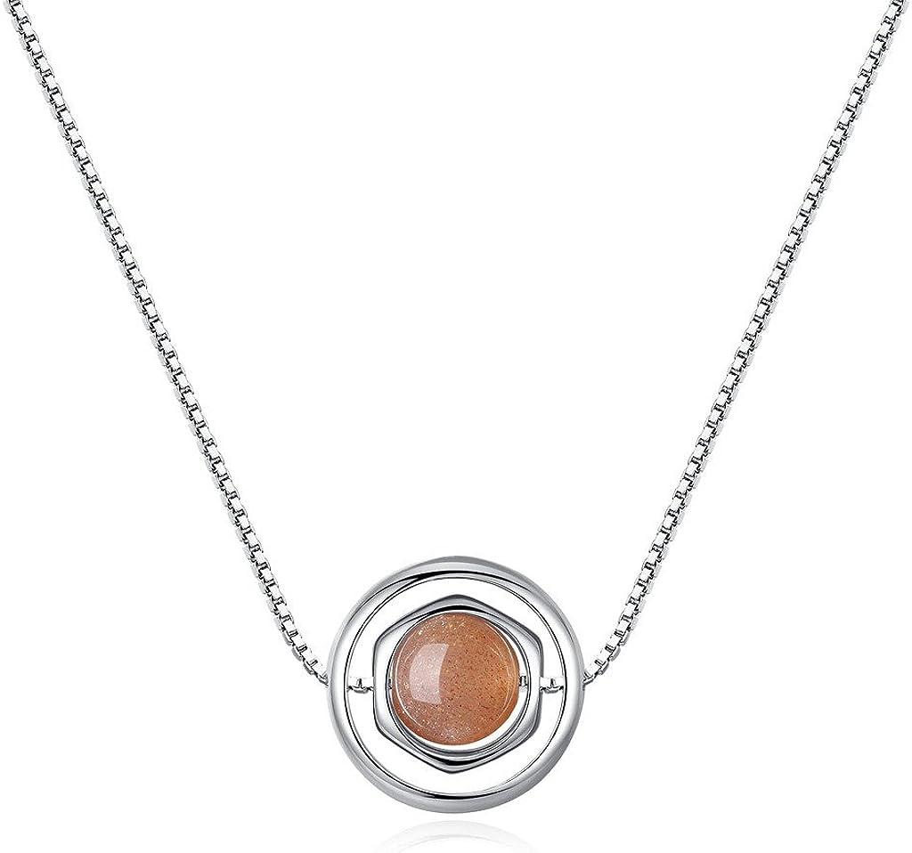 COAI Collar para Mujer de Plata de Ley 925 con Colgante Hexagonal de Piedra del Sol
