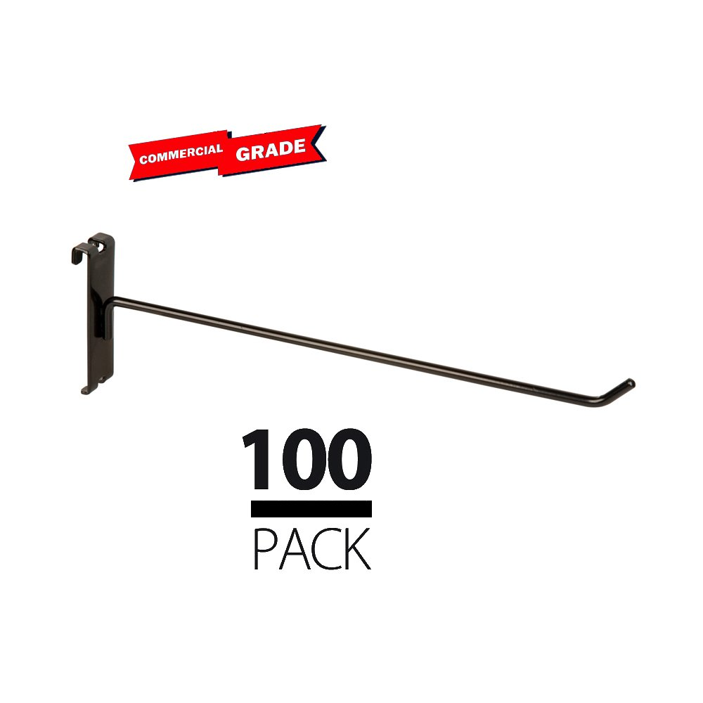 Only Garment Racks Commercial Grade Gridwall Hooks, 12'' Grid Panel Peg Hooks, Black (Pack of 100)