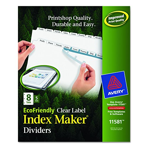 Hot Avery EcoFriendly Index Maker Clear Label Dividers, 8-Tab Style, White, 5 Sets (11581) hot sale