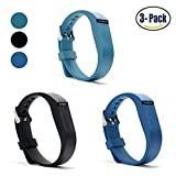 Hotodeal Replacement Bands for Fitbit Flex, Fashion Adjustable Silicone Sport Wristband with Chrome Clasp and Fastener Buckle, Prevent Tracker Falling Off, Comfortable, Pack of 3 (Black+Blue+Slate)