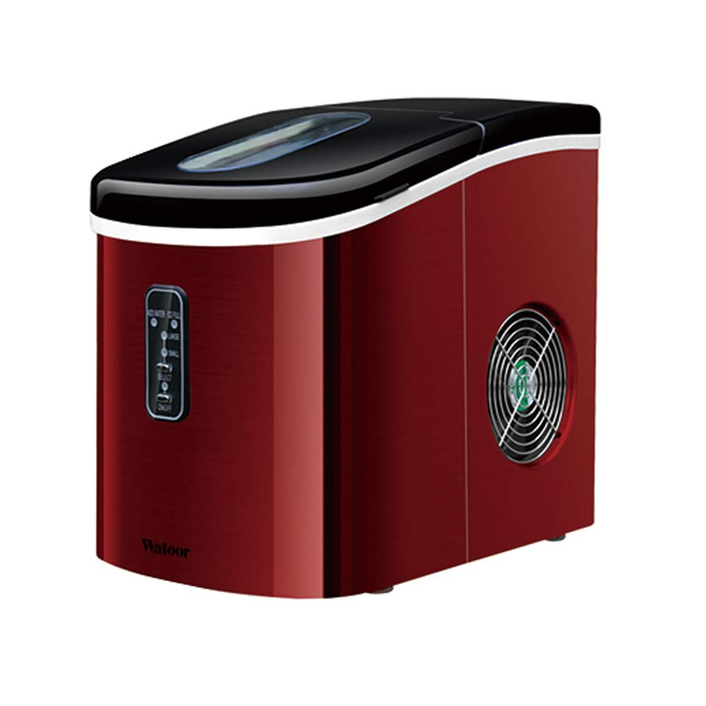 WHJ@ Ice Machine 16kg Mini Small Commercial Household Tea Shop Bar Automatic Round Ice Machine Ice Machine Red