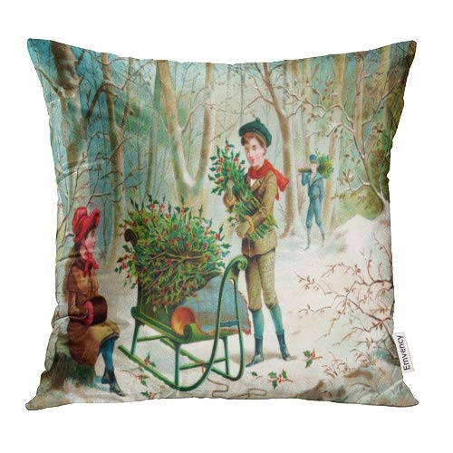 (Emvency Decorative Throw Pillow Covers Cases Victorian Gathering Christmas Holly Early 1900 Vintage Currier and Ives Winter Antique 18x18 Inch Case Cover Cushion Two)