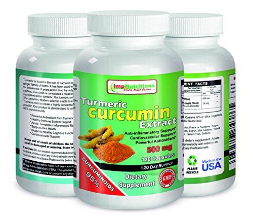Curcuma curcumine 500 mg 120 capsules par Nutritions imp - avec 95% de curcuminoïdes pour la santé maximale & Vitalité! Strongest et plus efficace, Pure & Natural, pas d'ingrédients artificiels, meilleur safran alternative, sécuritaire et facile. De puiss