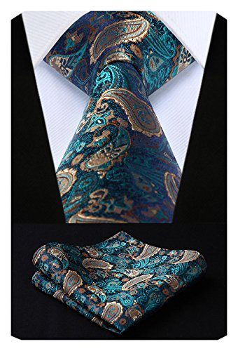 HISDERN Men's Paisley Silk Tie With Handkerchief Classic Necktie & Pocket Square Set (Aqua & Brown)