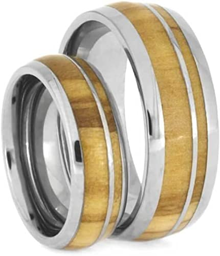 Prime Sterling Silver Wooden Band with Olive inlay