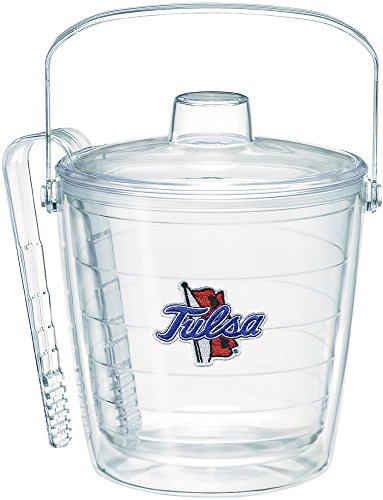 (Tervis 1251960 Tulsa Golden Hurricane Logo Insulated Ice Bucket and Tongs with Emblem and Clear Lid-Boxed, 87oz)