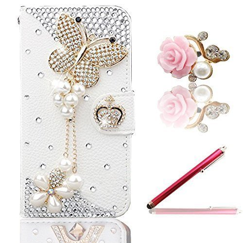Galaxy Grand Prime Case, Vandot 3in1 Accessories for Samsung Galaxy Grand Prime G530, Luxury Glitter Rhinestones Diamonds Butterfly PU Leather Flip Case Cover Wallet with Card Holders