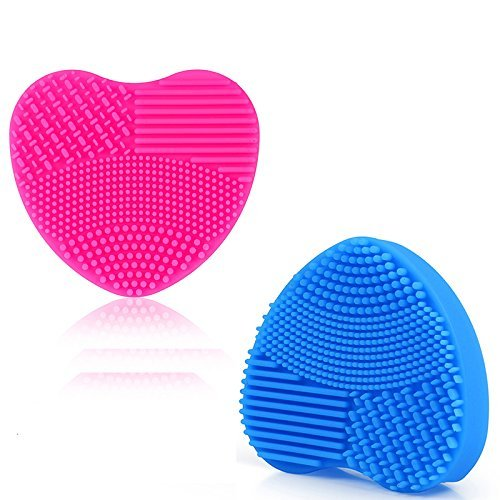 Wefond Pack of 2 Makeup Brush Cleaning Mat Finger Glove Silicone Cosmetic Washing Tools, Hot Pink & Blue