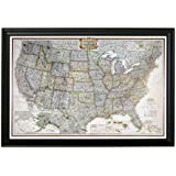 Push Pin Travel Maps Personalized Executive US with Black Frame and Pins 24 x 36