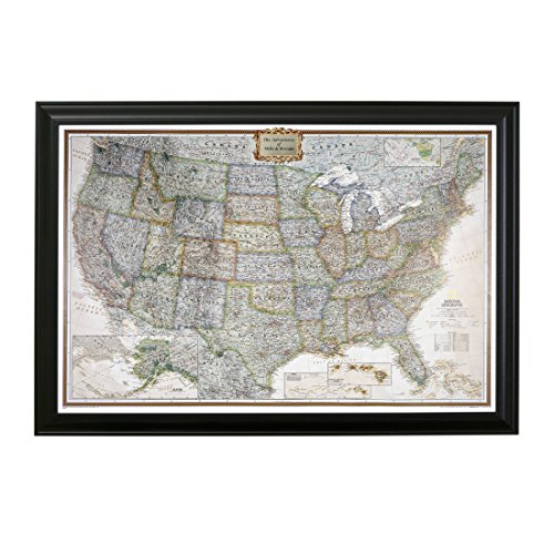 Personalized Executive US Push Pin Travel Map with Black Frame and Pins 24 x 36 by Push Pin Travel Maps