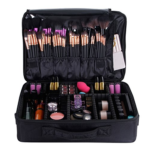 18a95710bb08 Large Travel Makeup Bag: Valdler Black Professional 15
