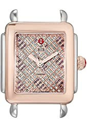 MICHELE Women's MW06V00L4072 Deco 16 Analog Display Swiss Quartz Two-Tone Watch Head