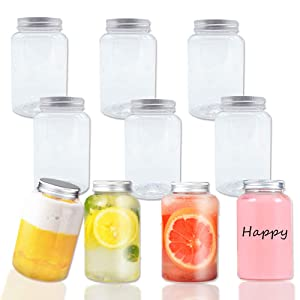 10 PCS 17 oz/500ml Plastic Juice Bottles,Drink Container,Reusable Clear Containers with Caps Lids for Homemade Juices,Milk,Smoothies,Tea and Other Beverages,Catering,Takeout