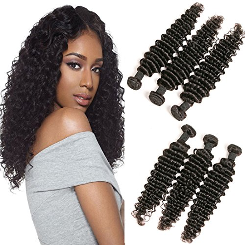 Deep Wave Bundles Raw Brazilian Hair 3 Bundles Short Curly Bundles Wholesale Deals Unprocessed Virgin Human Hair Extension Double Weft Tangle Free Natrual Color 8 10 12 Inch