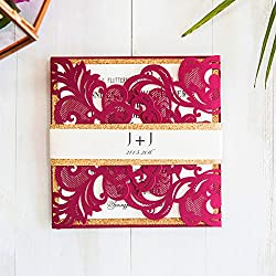10 Kit/Pack Ribbons Decoration Flower Laser Cut Pattern Invitations Cards For Wedding Blank Custom made inside Paper Convite