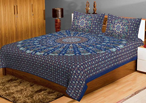 King Size Double Bed Sheets Rajasthani Flower Bed sheets Double Bed Covers Hand Print 100% Cotton Bed Sheets Traditional Jaipuri Bedsheet With Two Pillow Covers Exclusive By