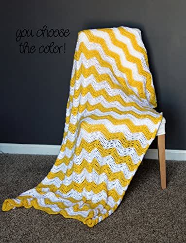 Chevron Afghan Throw Blanket Crochet - Bright Neon Yellow and White Striped Ripple Zig Zag - Made To Order