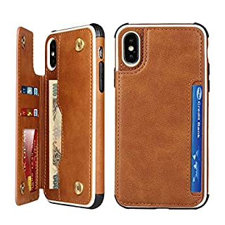 Cavor iPhone X/XS Case, Wallet Card Holder Case [4 Card Slots] [with Lanyard] PU Leather Flip Shockproof Cover for iPhone X/XS - Brown