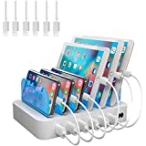 Hercules Tuff 6 Port USB Charging Station - Short Cables Included for | Phone | pad | Tablets