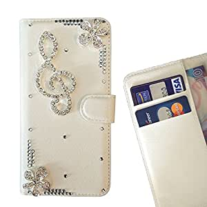 FOR ZTE S7 Musical note Music Melody Bling Bling PU Leather Waller Holder Rhinestone - - OBBA