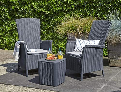 Allibert-by-Keter-Vermont-Reclining-Balcony-Outdoor-Garden-Furniture-Set-Graphite-with-Grey-Cushions