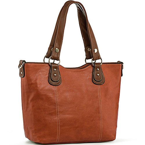 UTAKE Handbags for Women Top Handle Shoulder Bags PU Leather Tote Purse Meduim Size Orange (Tote Shoulder Handbag Leather)