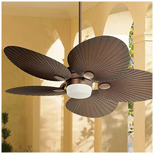 52 Casa Breeze Tropical Outdoor Ceiling Fan With Light Led Remote Control Oil Brushed Bronze Palm Leaf Damp Rated For Patio Porch Casa Vieja Beachfront Decor