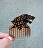 Beard Comb for men wood Dire Wolf Game of thrones stark Brush moustache Great with beard oil Stark shaped comb Pocket size comfortable Gift for him Father gift for Dad by Enjoy The Wood