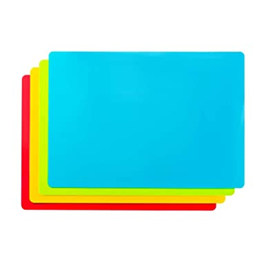 Bellemain Set of 4 Flexible Non-Skid 15  x 11  Cutting Board Mats with Food Color Codes