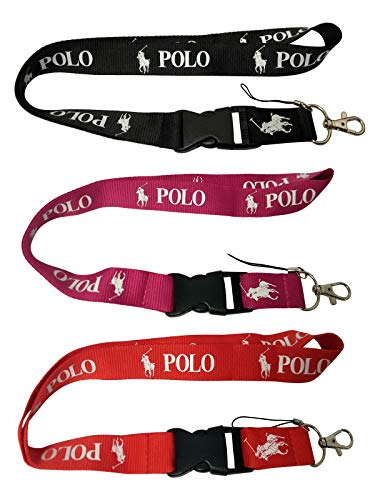 Hanitek 2pcs Outdoor Horse Riding Polo Sport Lanyard Key Chain Clasp for Car Truck SUV Motorcycle RV House Office ID Lady Man Fashion Accessories (Black Red Pink)