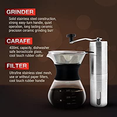 Ultimate Pour Over Coffee Maker Kit: Precision Stainless Steel Ceramic Burr Manual Coffee Grinder, Borosilicate Glass Pourover Carafe and Permanent Stainless Steel Filter Cone Dripper