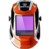Solar Powered Welding Helmet Auto Darkening Professional Hood with Wide Lens Adjustable Shade Range 4/9-13 for Mig Tig Arc Weld Grinding Welder Mask (Orange)