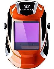 DEKO Masque de soudure à énergie solaire pour mer profonde Assombrissement automatique du capot professionnel avec lentille large Gamme de stores ajustable 4 / 9-13 pour masque de soudure pour soudure à l'arc Mig Tig (Bleu)