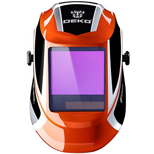DEKOPRO Welding Helmet Auto Darkening Solar Powered wide viewing field Professional Hood with Wide Lens Adjustable Shade Range 4/9-13 for Mig Tig Arc Weld Grinding Welder Mask ()