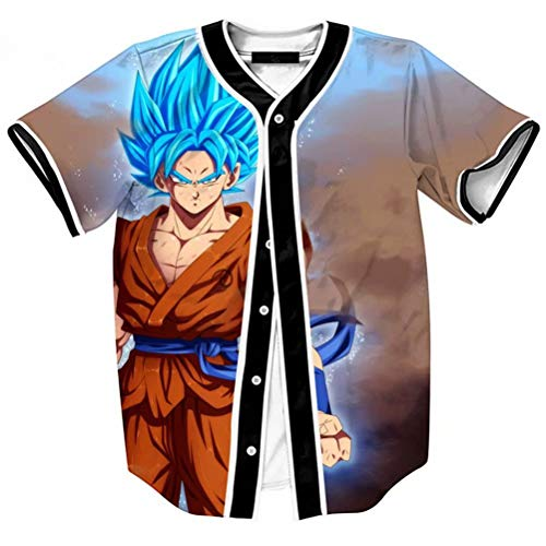 Big Boys Youth Baseball Shirts Dragon Ball 3D Print Jersey Shirt Tops