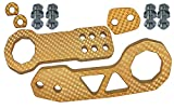 ICBEAMER Racing Style Universal Anodized CNC Aluminum Tow Hook Kit Including Front Rear Tow Hook [Color: Gold]