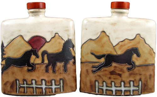 (MARA STONEWARE COLLECTION - 24 Ounce Collectible and Funcational Square Liquor Flask Decanter - Equestrian/Horses Design)