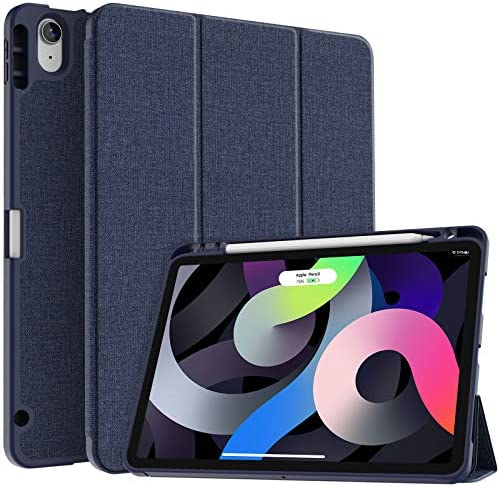 Soke iPad Air 4 Case 10.9 Inch 2020 with Pencil Holder – [Full Body Protection + Apple Pencil Charging+ Auto Sleep/Wake], Soft TPU Back Cover for 2020 New iPad Air 4th Generation,Dark Blue