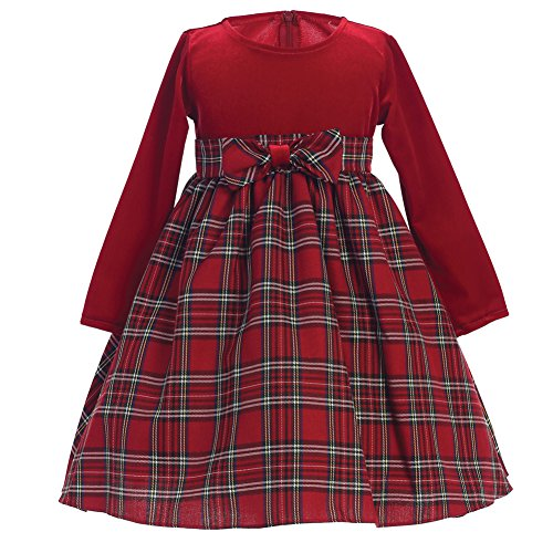 Holiday/Fall/Christmas Stretch Velvet Plaid Girls Dress (3T) (Lined Skirt Velvet Fully)