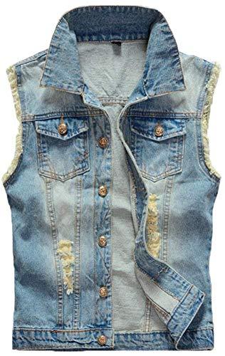 Denim Maniche Abbigliamento Classica Senza Di Con Lavoro Hellblau Jeans Uomo Giacche Giacca Risvolto Da Eqa8S