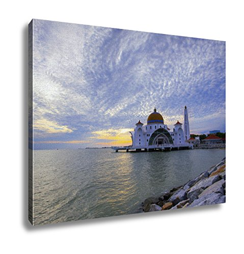 Ashley Canvas Majestic View Of Malacca Straits Mosque During Sunset Wall Art Decor Stretched Gallery Wrap Giclee Print Ready to Hang Kitchen living room home office, 24x30 by Ashley Canvas